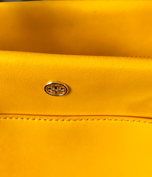Tory Burch Mustard Yellow Leather Tote Bag | Gently Used |