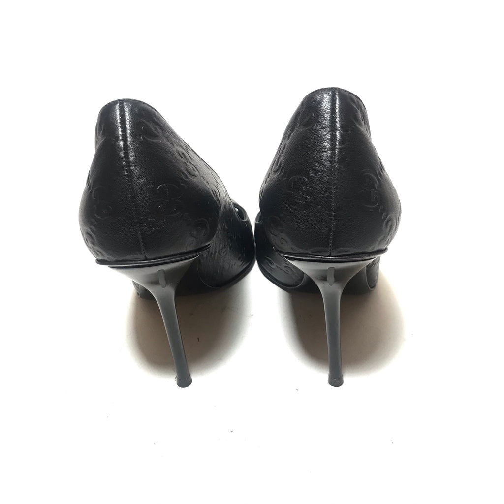 Gucci Black Leather 'Guccisma' Peep-toe Heels | Gently Used |