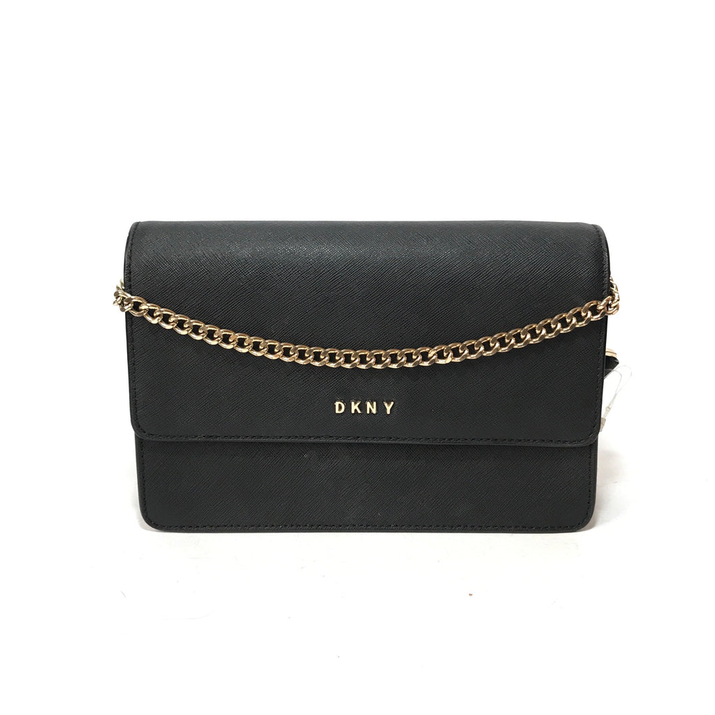 DKNY Black Textured Leather Cross Body Bag
