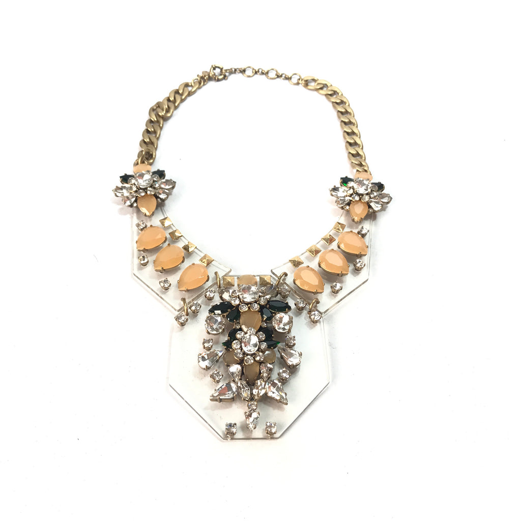 J.Crew Clear Jeweled Statement Necklace