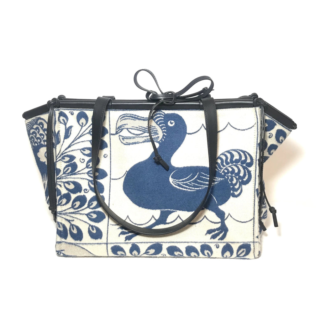 Loewe Cushion Tiles Blue Jacquard Tote | Gently Used |