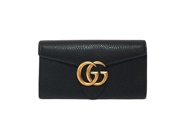 Gucci GG 'Marmont' Black Leather Continental Wallet | Brand New |