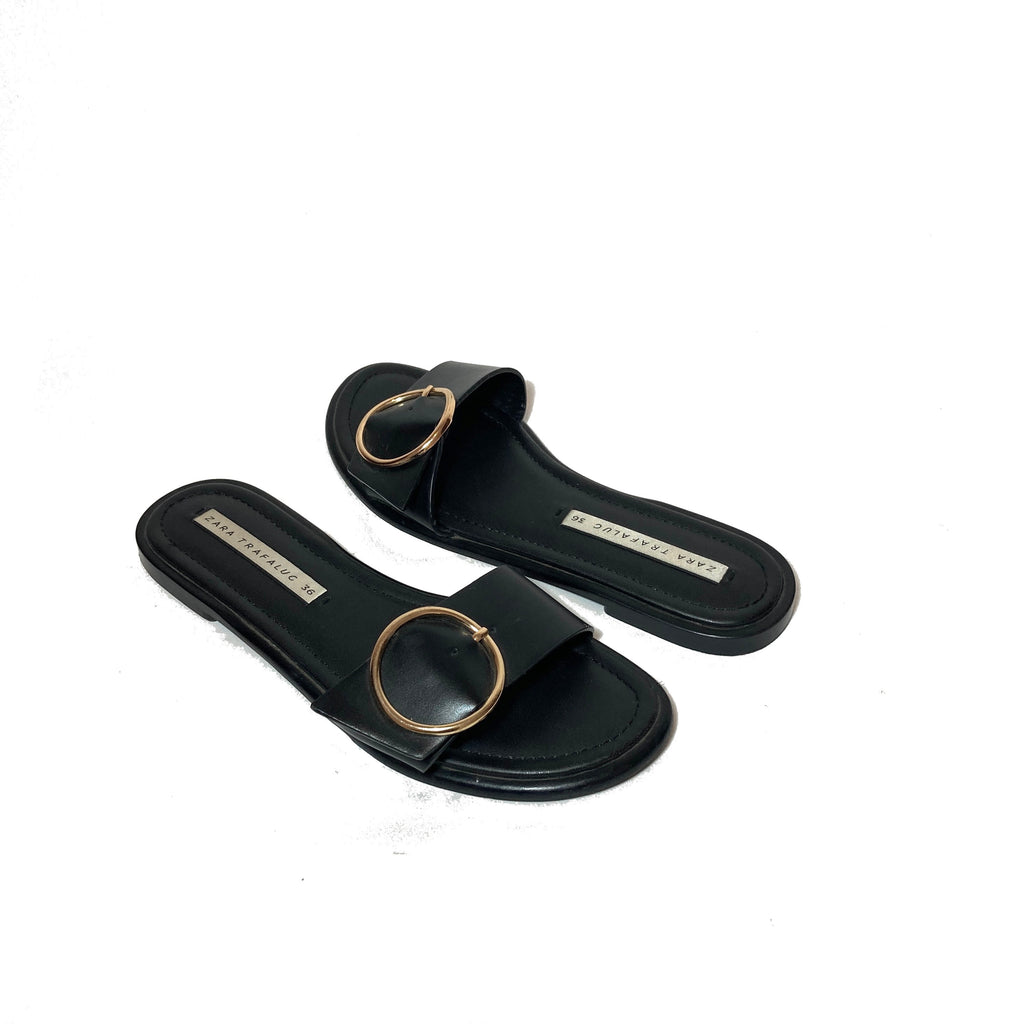 Zara Black with Round Gold Buckle Slides | Pre Loved |