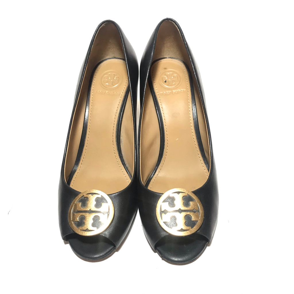 Tory Burch Black Leather 'Benton' Peep-toe Wedges | Brand new |