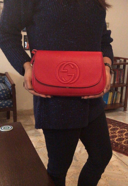 Gucci SOHO Red Leather 'Borsa' Chain Shoulder Bag | Brand New |