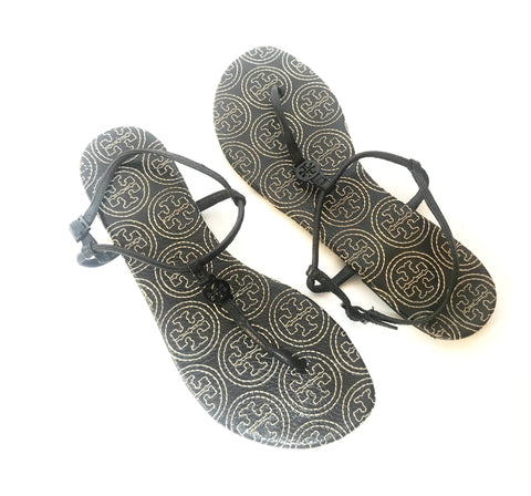 Tory Burch Black T-Strap Thong Leather Sandals | Gently Used |