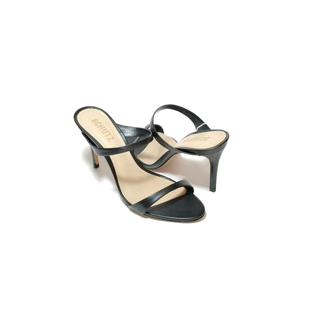 Schutz 'Reanna' Black Double Strap Leather Mules | Brand New |