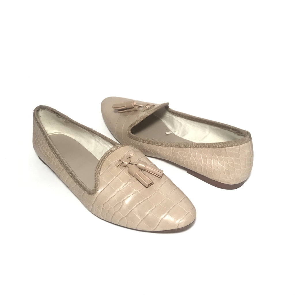 ZARA Taupe Croc-Print Pointed Loafers | Pre Loved |