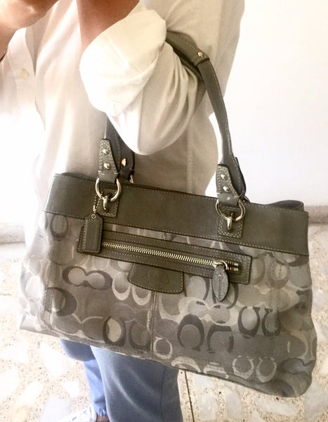 Coach Grey Signature Canvas & Leather Bag | Gently Used | - Secret Stash