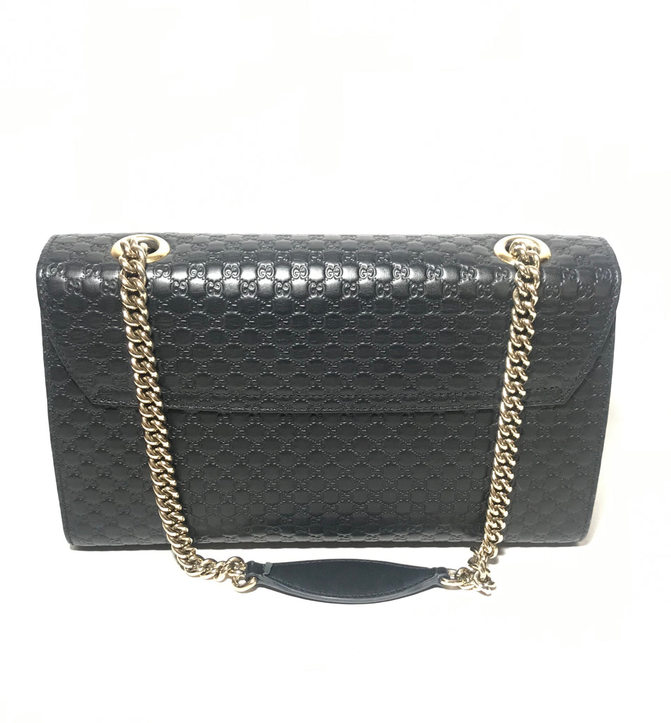 Gucci Black Emily Guccisma Medium Leather Chain Shoulder Bag | Gently Used |