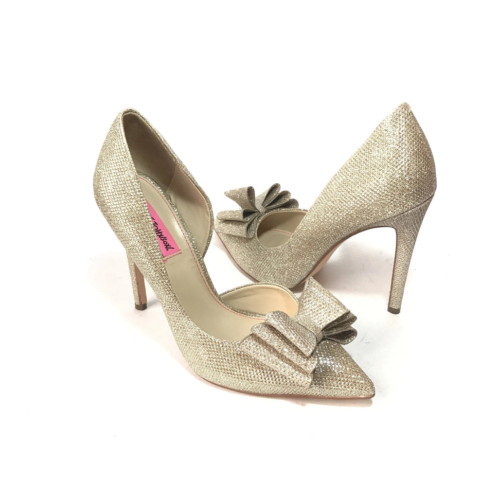 Betsey Johnson Prince Gold Bow Pointed Pumps