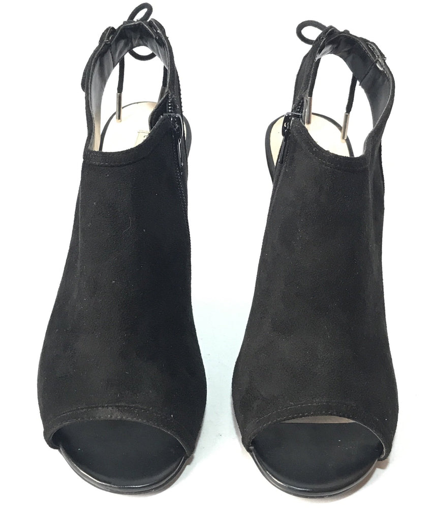 Charles & Keith Black Suede Peep Toe Booties