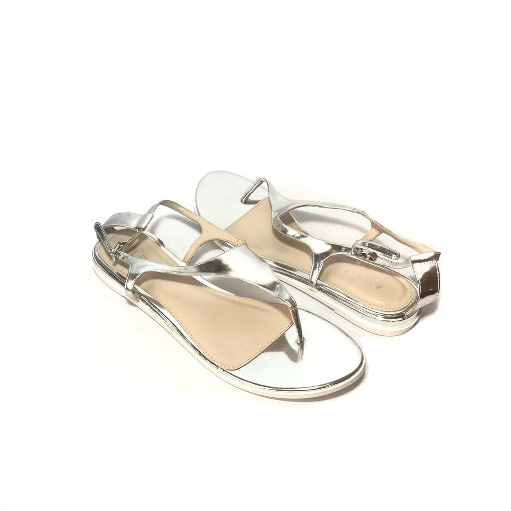 ALDO Patent Silver Thong Sandals