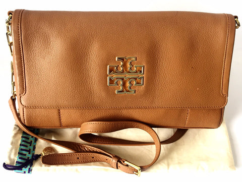 Tory Burch Tan Leather 'Britten' Messenger Bag | Pre Loved |