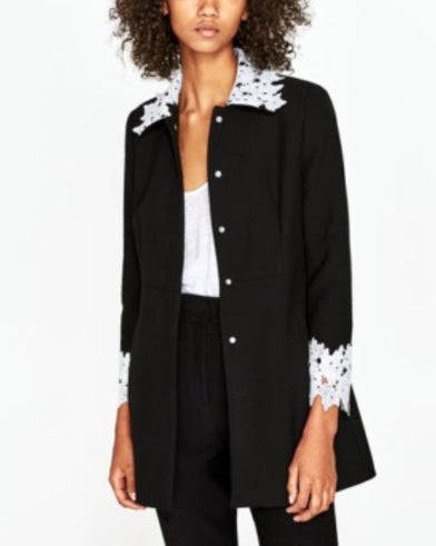 ZARA Black Coat with White Lace | Brand New |