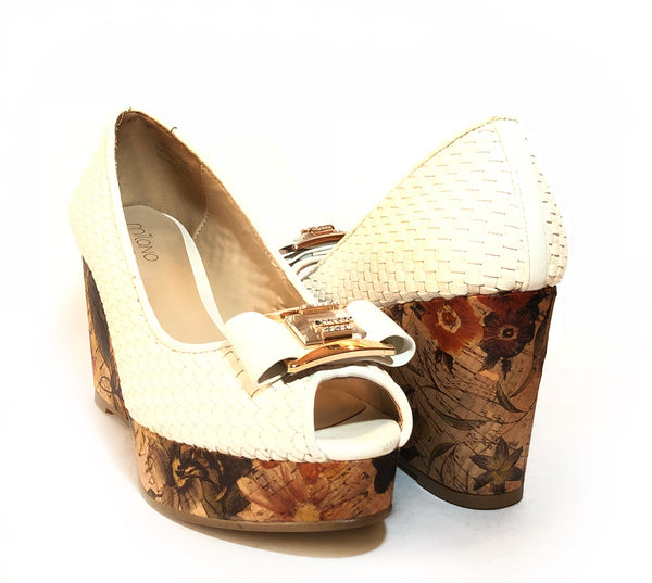Milano White Floral Peep-toe Wedges | Like New |