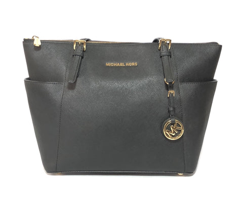 Michael Kors Black Leather Jet Set Medium Travel Tote | Gently Used |