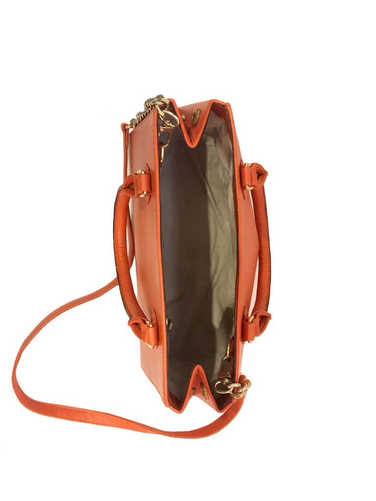 Warp Poppy Orange Leather Midi Tote | Sample |