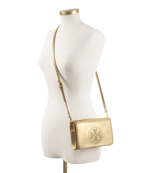 Tory Burch Gold Perforated Logo Clutch | Brand New |