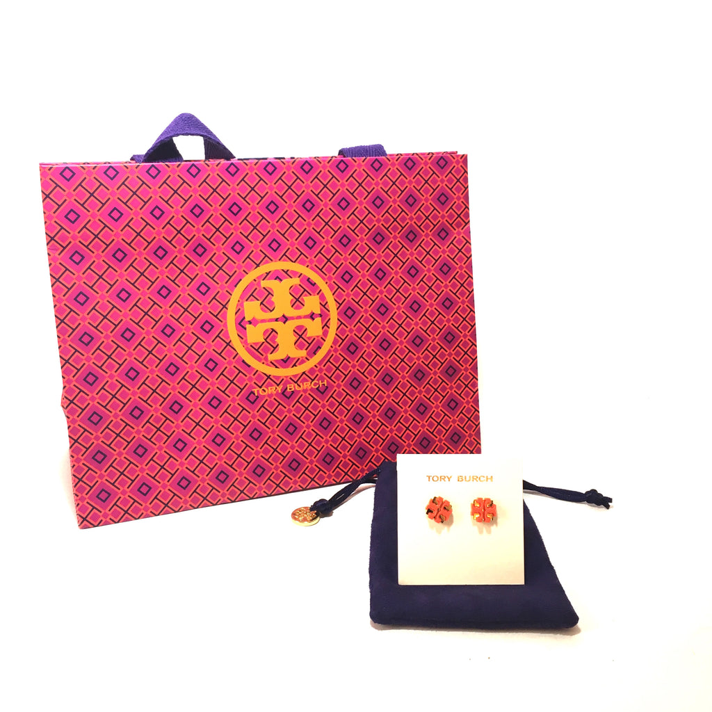 Tory Burch Enamel Large T Logo Studs | Brand New |