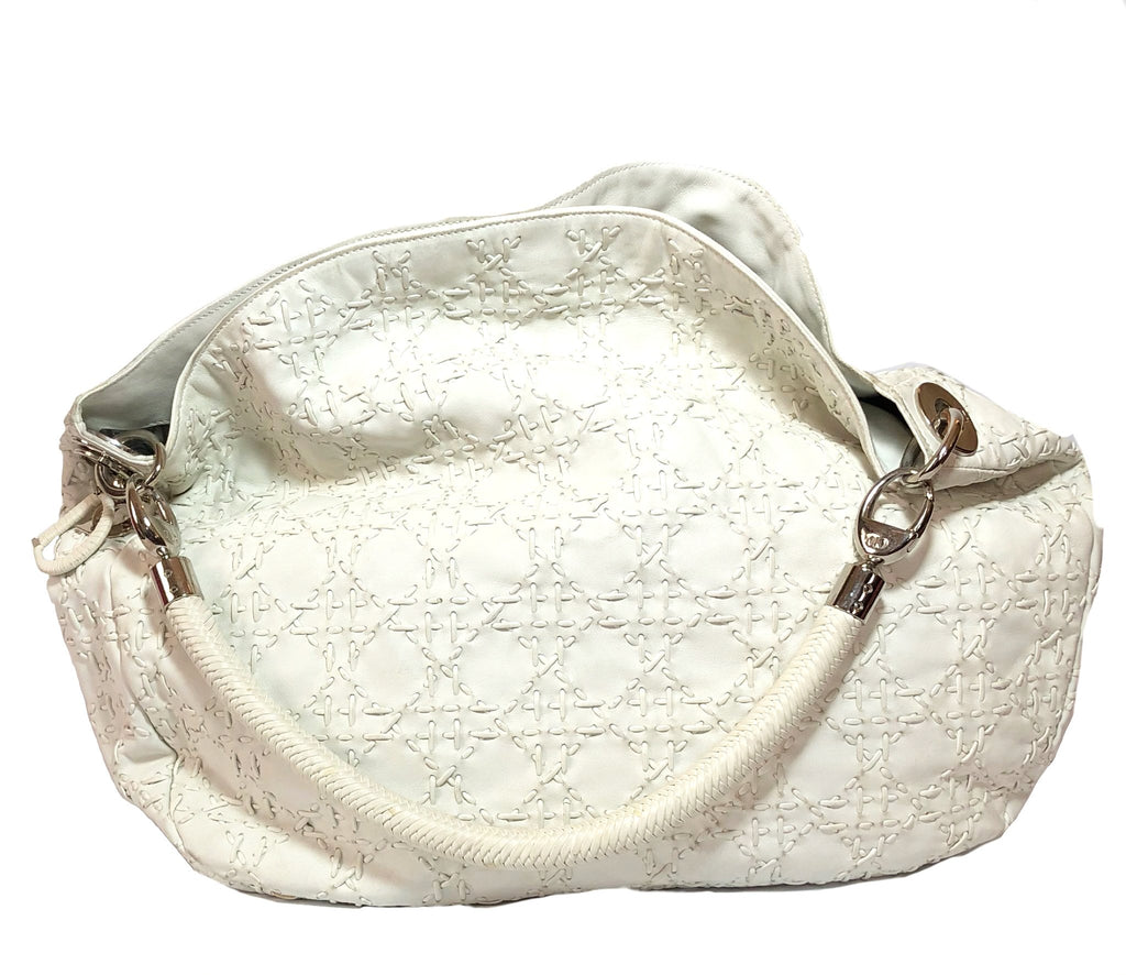 Christian Dior White Leather Cross Stitch Hobo Bag | Gently Used | - Secret Stash