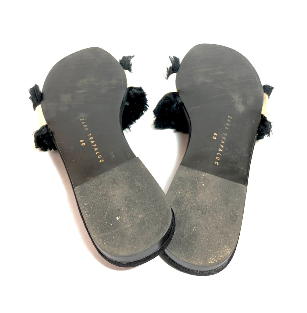 ZARA 'Trafaluc' Black Mirror & Fringe Slides | Gently Used |