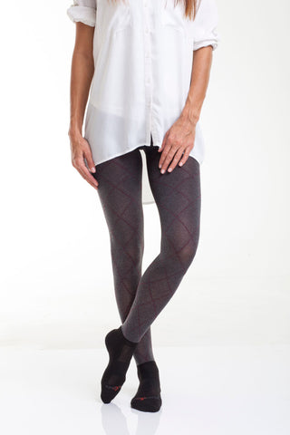 Hailey Argyle with attached performance socks in Heather Grey
