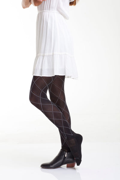 Hailey Argyle with attached performance socks in Black