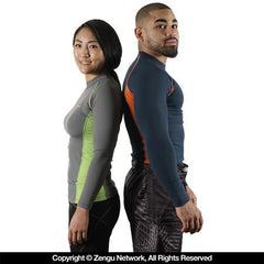 93 Brand Standard Issue Long-Sleeve Grappling Rash guard 2-Pack Grey/Green, Blue/Orange