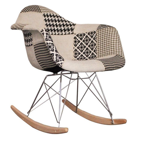 info for 5d23e edd1e Charles Ray Eames Style Rocking Chair Black/White Patchwork Upholstery
