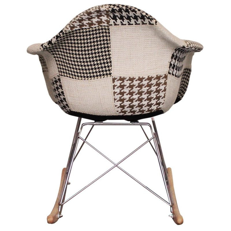 Charles Ray Eames Style  Rocking Chair Black/White Patchwork Upholstery