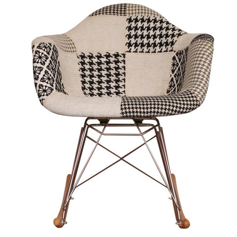 charles ray eames style rocking chair black white patchwork upholstery s alternative furniture. Black Bedroom Furniture Sets. Home Design Ideas