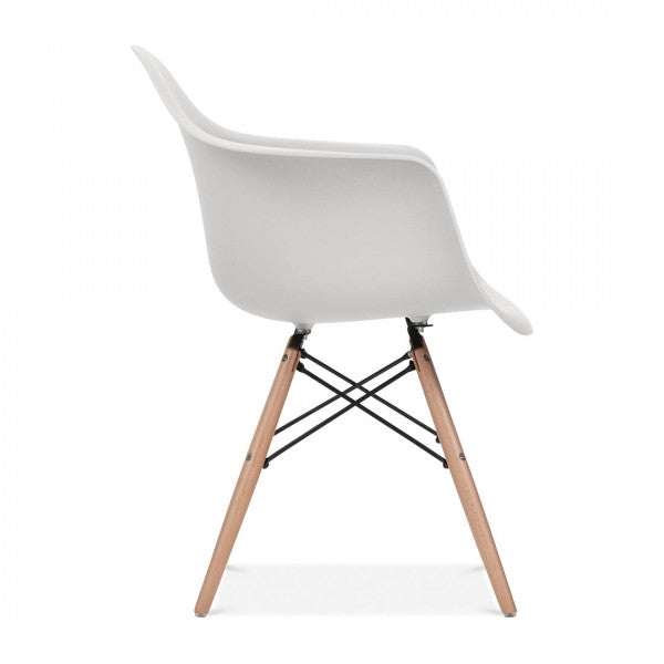 Charles Ray Eames Style DAW Arm Chair - Light Grey