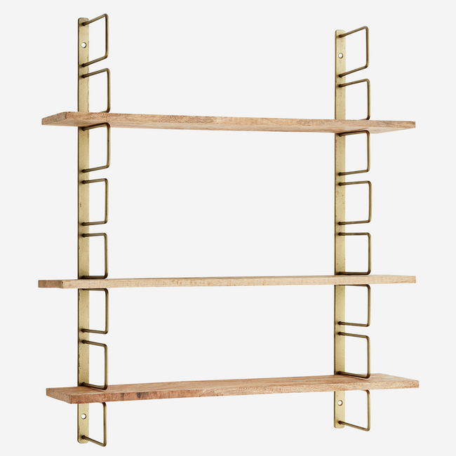 Wall Rack With Wooden Shelves  - Madam Stoltz
