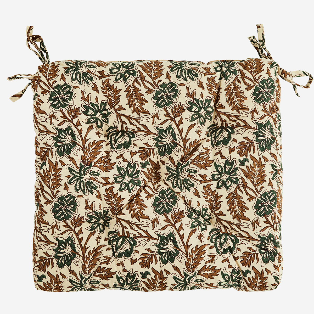 Printed cotton Seat Pad Cream/Brown/Green. - Madam Stoltz