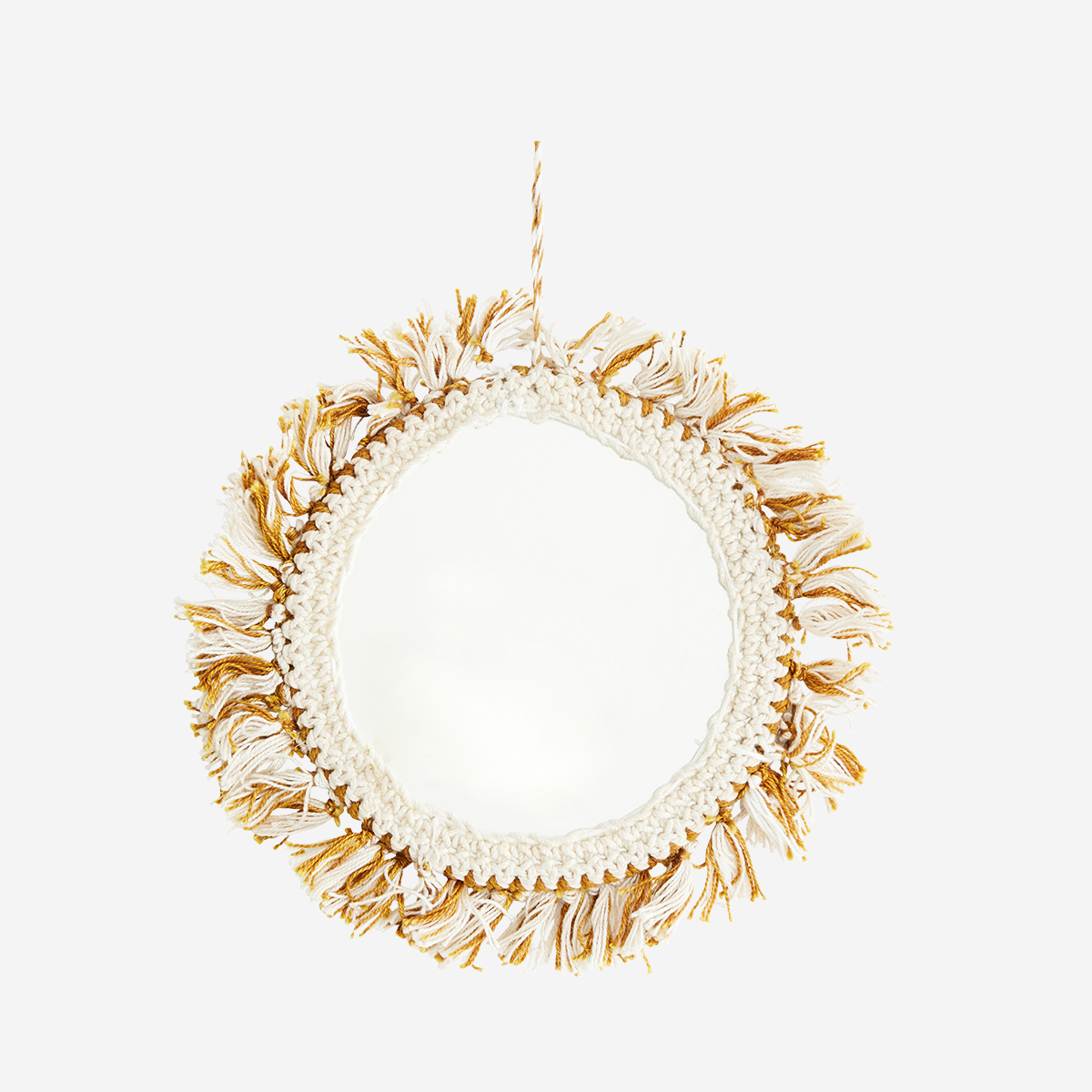 Hanging Mirror With Cotton Fringes D:`14cm- Madam Stoltz
