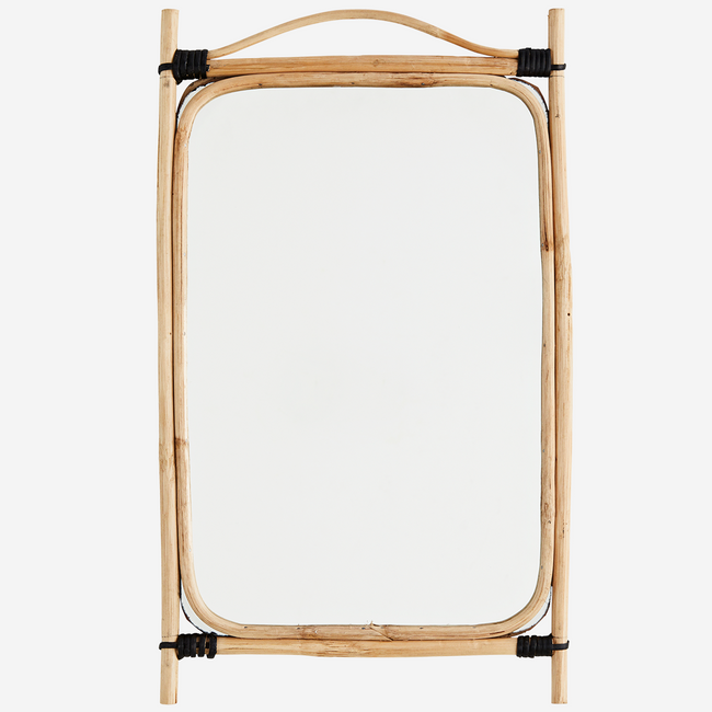 Rectangular Mirror With Bamboo Frame 34x56 cm