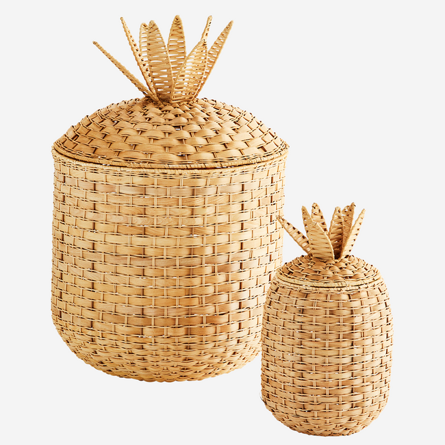 Rattan Pineapple Baskets With Lid Set of 2