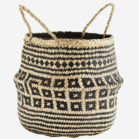 Wicker Baskets With Handles Natural/White - Madam Stoltz