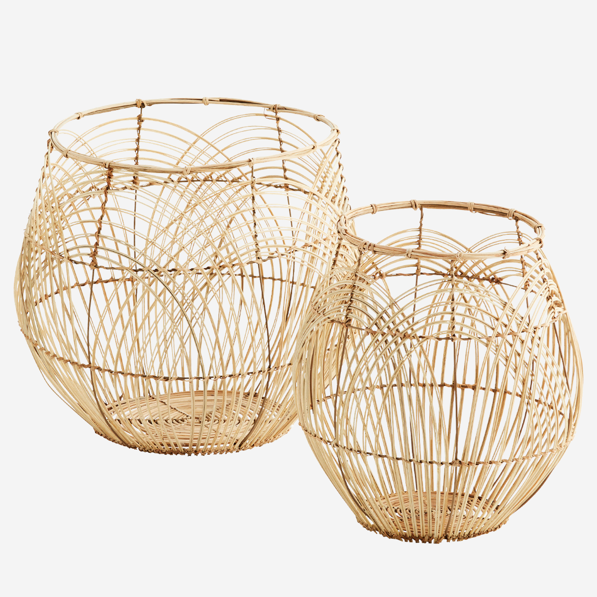 Round Rattan Baskets Natural - Madam Stoltz