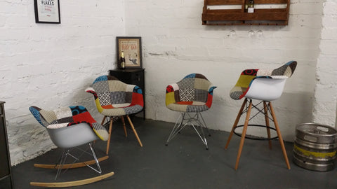 ... Charles Ray Eames Style Rocking Chair Black/White Patchwork Upholstery