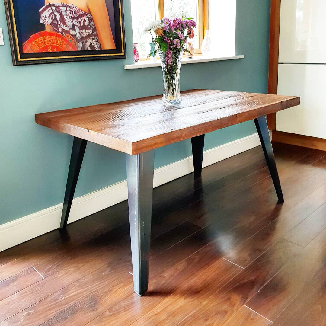 Spiky Frame Live Edge Oak Industrial Dining Table by Strachel A.F.