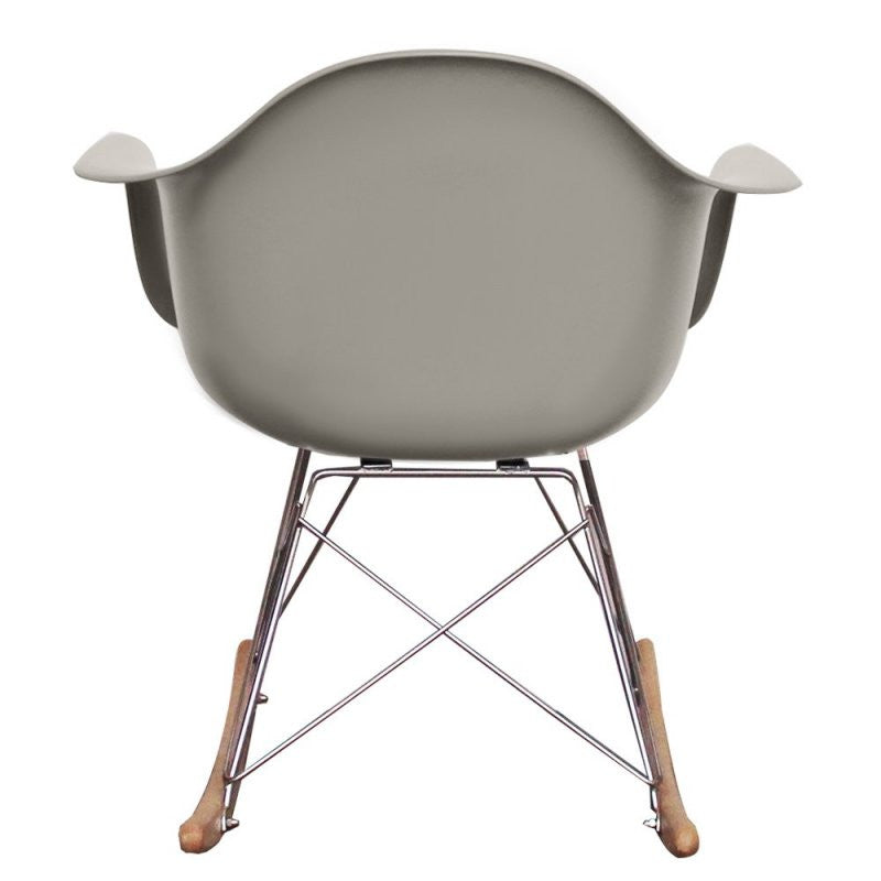 Charles Ray Eames Style RAR Rocking Chair - Light Grey