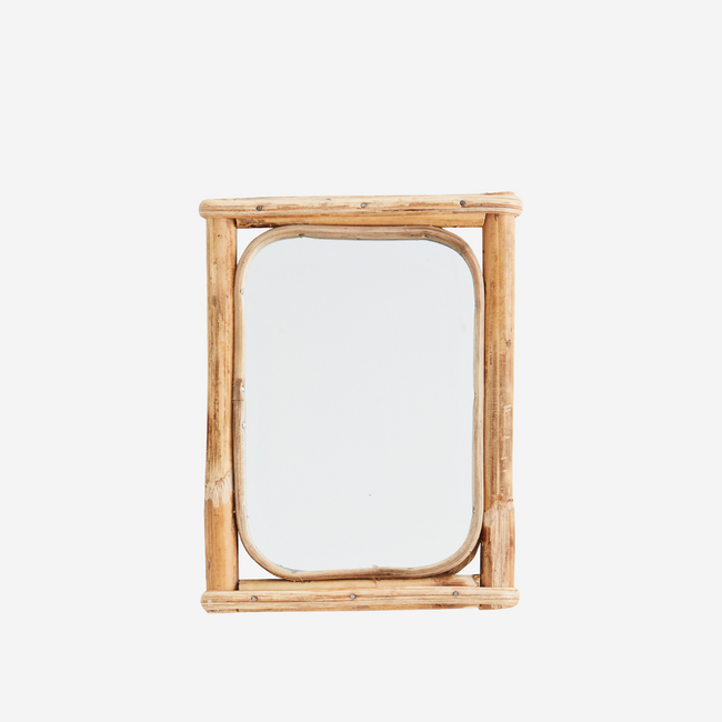 Rectangular Mirror With Bamboo Frame 15x21 cm