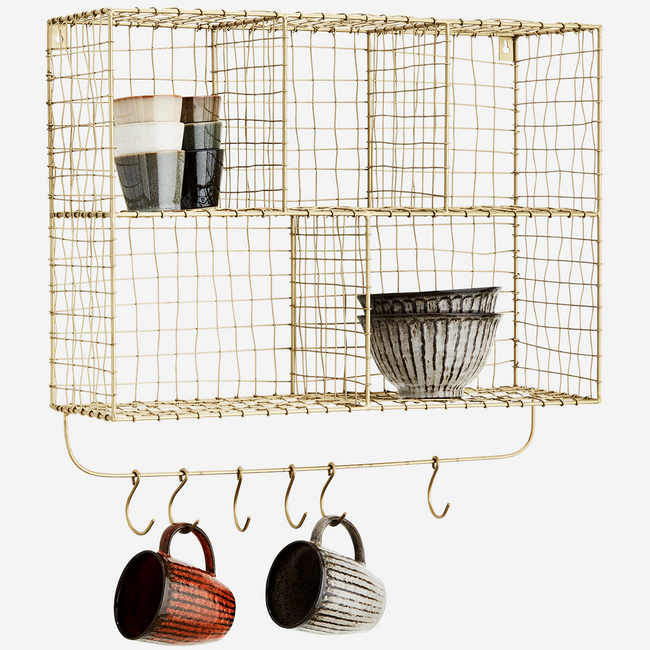 Hanging Shelf With Hooks 56x18x52 cm. - Madam Stoltz
