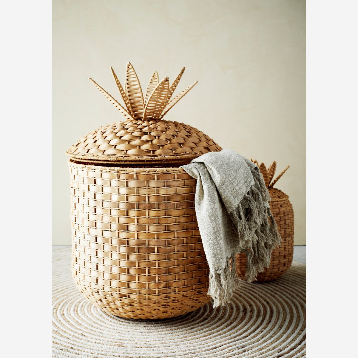 Rattan Pineapple Baskets With Lid Set of 2 - Madam Stoltz