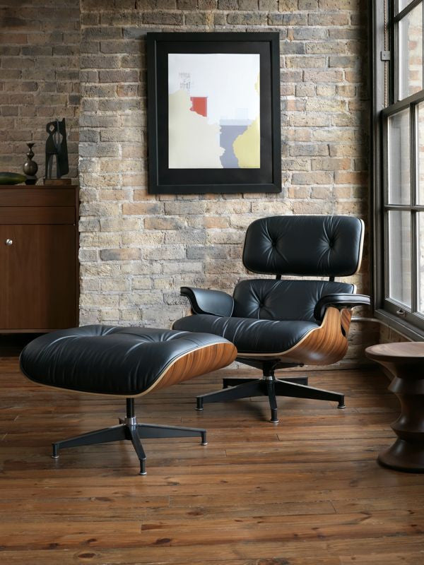 Eames Style Lounge Chair and Ottoman - Walnut & Black Leather
