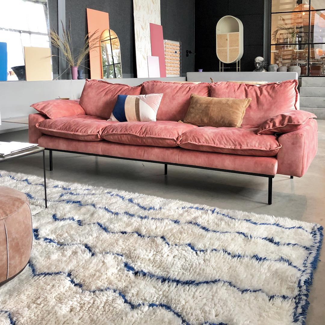 HK Living Retro sofa 3-seater velvet old pink