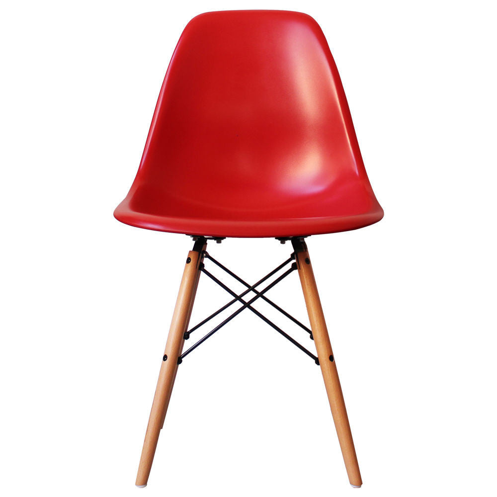 Charles Ray Eames Style DSW Side Chair  Red - Natural Legs