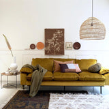 HK-Living Retro sofa 3-seater velvet ochre